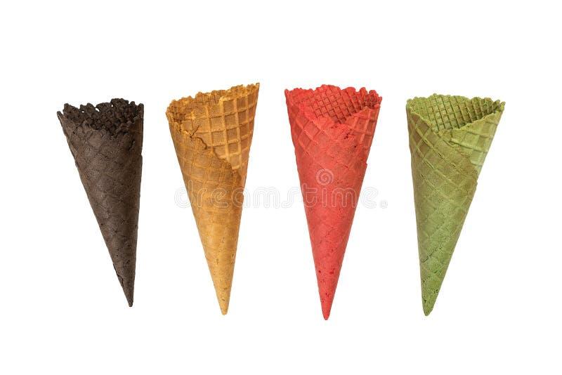 Κενός κώνος παγωτού που απομονώνεται στην άσπρη ανασκόπηση στοκ φωτογραφίες με δικαίωμα ελεύθερης χρήσης