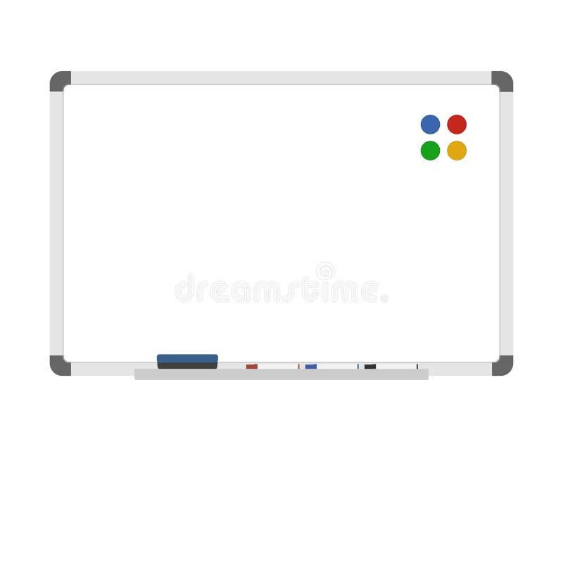 Κενός ξηρός σβήνει whiteboard με τους μαγνήτες, τους δείκτες, και τη γόμα διανυσματική απεικόνιση