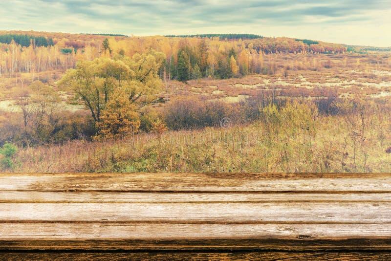 Κενός ξύλινος πίνακας με το γραφικό τοπίο φθινοπώρου της άποψης από το λόφο στα πεδινά με το δάσος και τα έλη Χλεύη επάνω για στοκ εικόνες