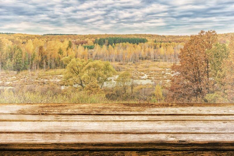 Κενός ξύλινος πίνακας με το γραφικό τοπίο φθινοπώρου της άποψης από το λόφο στα πεδινά με το δάσος και τα έλη Χλεύη επάνω για στοκ φωτογραφία με δικαίωμα ελεύθερης χρήσης
