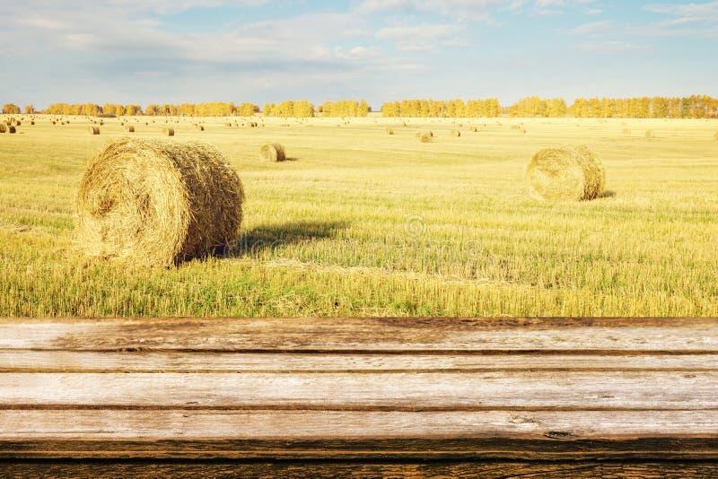 Κενός ξύλινος πίνακας με το τοπίο φθινοπώρου των λοξευμένων δεμάτων τομέων και αχύρου Χλεύη επάνω για τα προϊόντα επίδειξης ή mon στοκ φωτογραφία με δικαίωμα ελεύθερης χρήσης