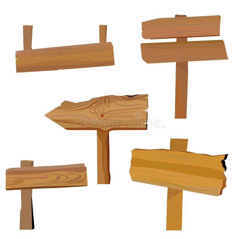 Κενός ξύλινος πίνακας σημαδιών κινούμενων σχεδίων που απομονώνεται στο άσπρο υπόβαθρο Ξύλινη εκλεκτής ποιότητας σανίδα οδικών βελ διανυσματική απεικόνιση