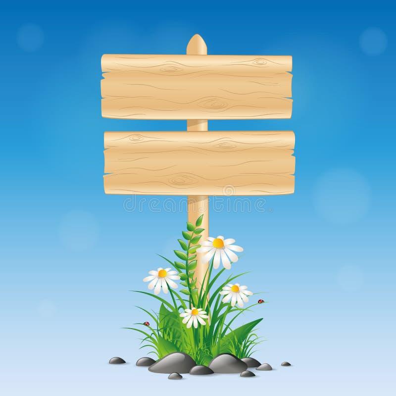 Κενός ξύλινος πίνακας σημαδιών με το λουλούδι μαργαριτών και χλόη στο μπλε υπόβαθρο ελεύθερη απεικόνιση δικαιώματος
