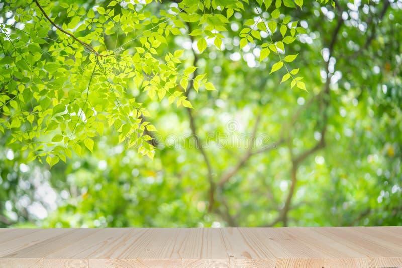 Κενός ξύλινος πίνακας στο πράσινο υπόβαθρο φύσης με την ομορφιά bokeh κάτω από το φως του ήλιου στοκ εικόνα