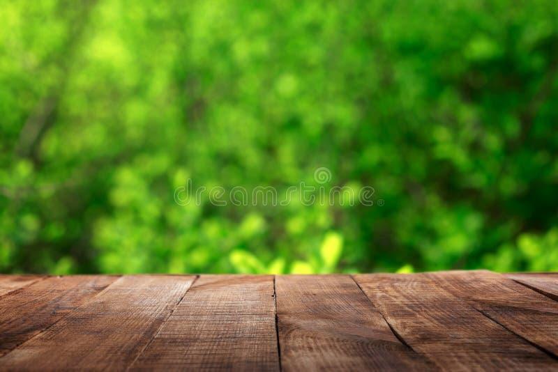 Κενός ξύλινος πίνακας με το πράσινο υπόβαθρο φύλλων θαμπάδων bokeh στοκ φωτογραφίες