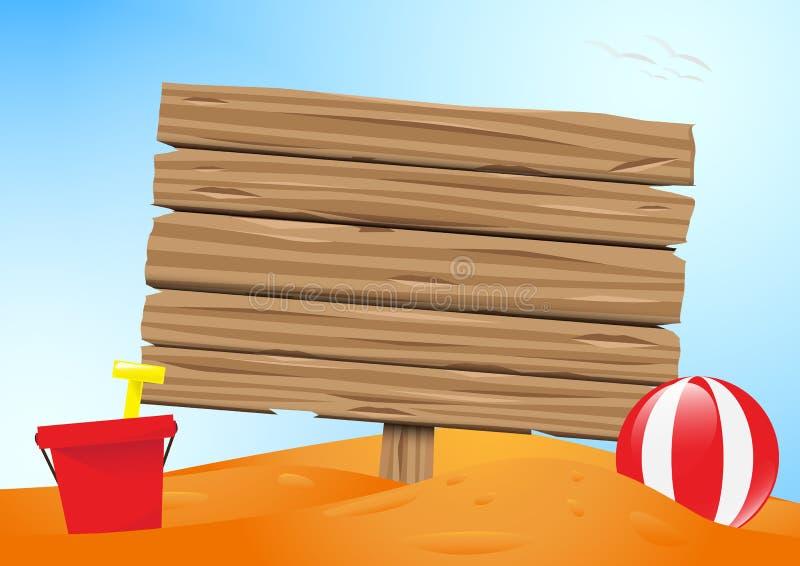 Κενός ξύλινος πίνακας στην παραλία άμμου με το διάνυσμα υποβάθρου μπλε ουρανού διανυσματική απεικόνιση