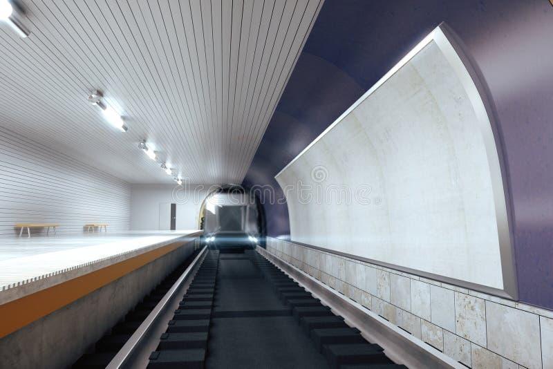Κενός πίνακας διαφημίσεων στον ιώδη τοίχο στον υπόγειο και το κινούμενο τραίνο, χλεύη στοκ φωτογραφία με δικαίωμα ελεύθερης χρήσης