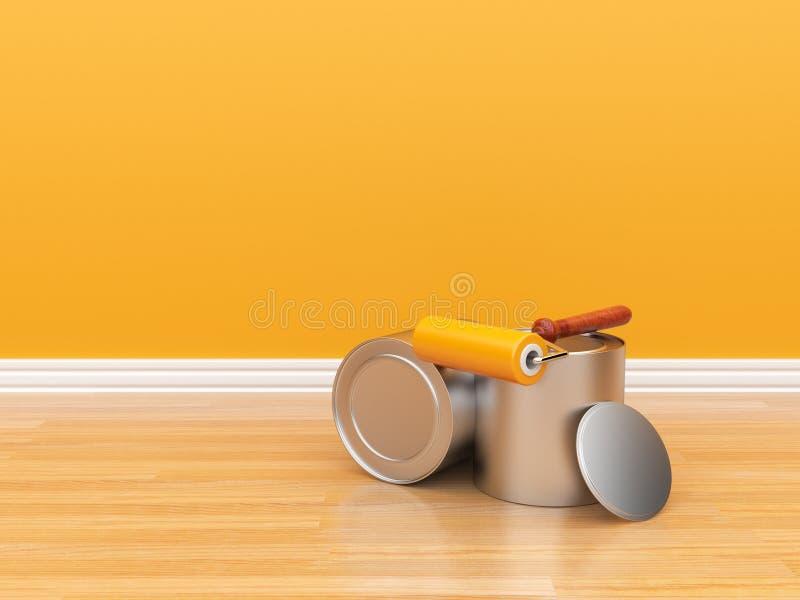κενός πορτοκαλής τοίχος ζωγραφικής ελεύθερη απεικόνιση δικαιώματος