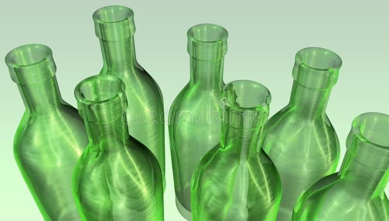 κενός πράσινος μπουκαλιών διανυσματική απεικόνιση