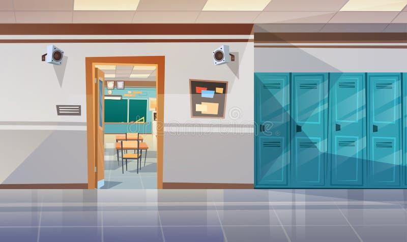 Κενός σχολικός διάδρομος με τη ανοιχτή πόρτα αιθουσών ντουλαπιών στο δωμάτιο κατηγορίας απεικόνιση αποθεμάτων