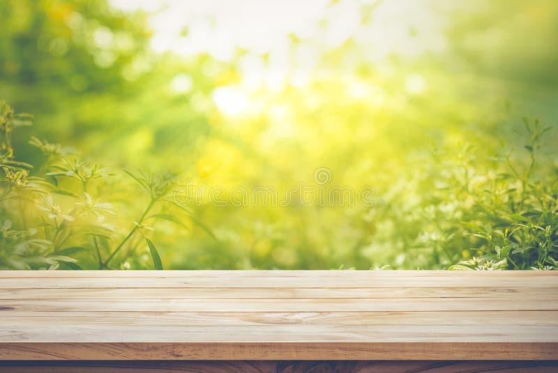 Κενός της ξύλινης επιτραπέζιας κορυφής στη θαμπάδα της φρέσκιας πράσινης περίληψης από τον κήπο