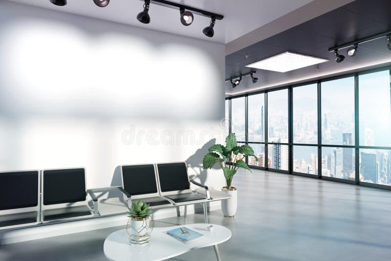 Κενός τοίχος στο πρότυπο αίθουσας αναμονής με τα μεγάλα παράθυρα και ήλιος που περνά μέσω της τρισδιάστατης απόδοσης ελεύθερη απεικόνιση δικαιώματος