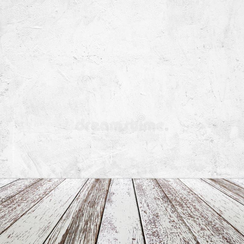 Κενός τοίχος τσιμέντου προοπτικής εκλεκτής ποιότητας άσπρος ξύλινος και άσπρος backg στοκ φωτογραφία