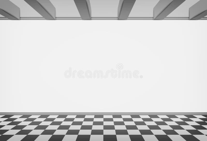 Κενός τοίχος δωματίων με το ελεγχμένο στρωμένο πάτωμα ελεύθερη απεικόνιση δικαιώματος