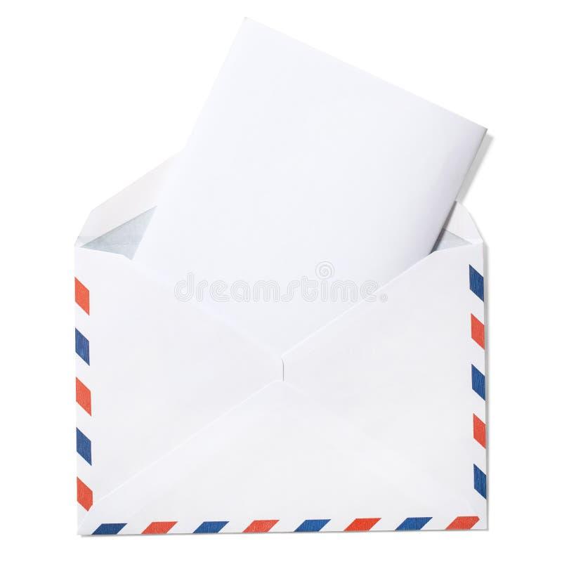 Κενός φάκελος με την επιστολή και την πορεία ψαλιδίσματος στοκ φωτογραφία