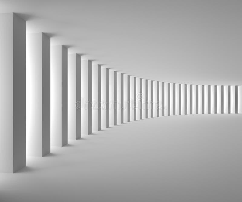 Κενό άσπρο εσωτερικό με τις μεγάλες στήλες και το φως διανυσματική απεικόνιση