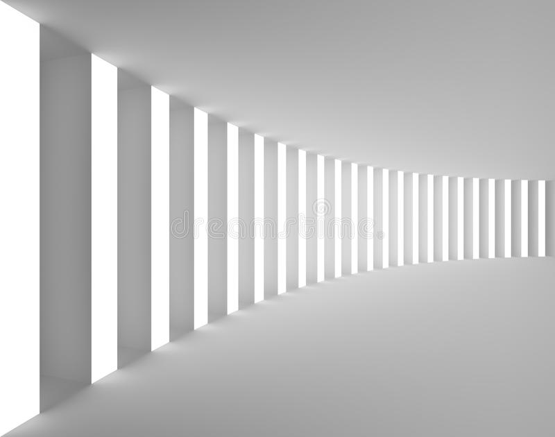 Κενό άσπρο εσωτερικό με τις μεγάλες στήλες και το φως ελεύθερη απεικόνιση δικαιώματος