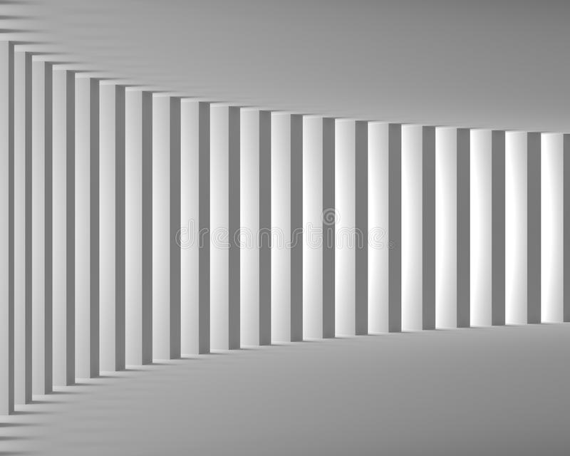 Κενό άσπρο εσωτερικό με τις μεγάλες στήλες και το φως απεικόνιση αποθεμάτων