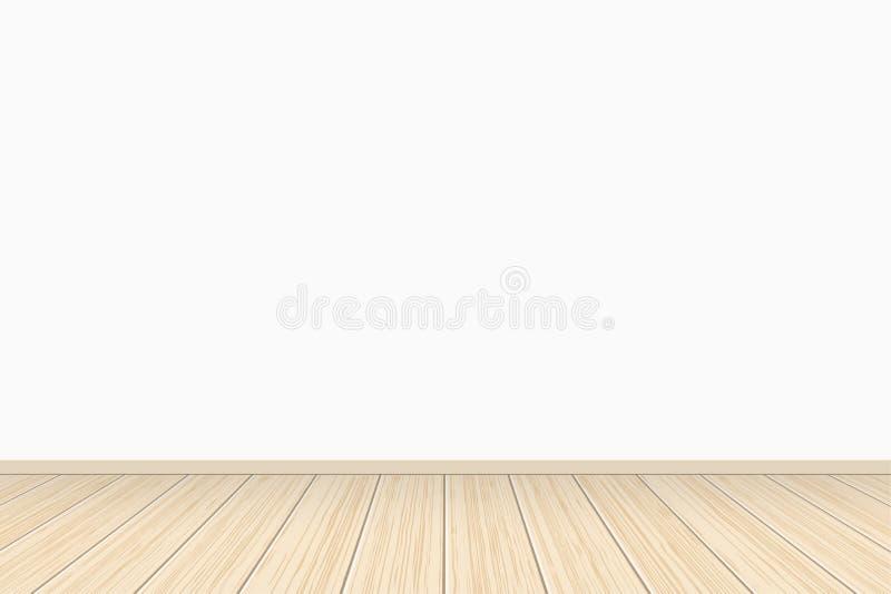 Κενό άσπρο εσωτερικό στοών τοίχων με το ξύλινο πάτωμα επίσης corel σύρετε το διάνυσμα απεικόνισης ελεύθερη απεικόνιση δικαιώματος