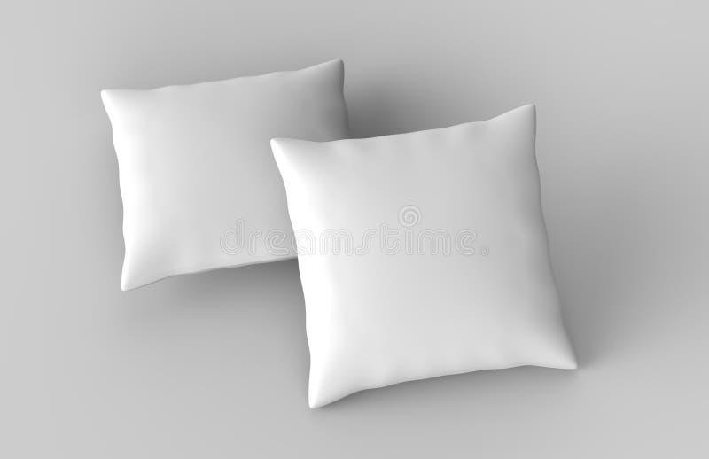 Κενό άσπρο μαξιλάρι μαξιλαριών έτοιμο για το σχέδιό σας η τρισδιάστατη απεικόνιση δίνει στοκ φωτογραφία με δικαίωμα ελεύθερης χρήσης