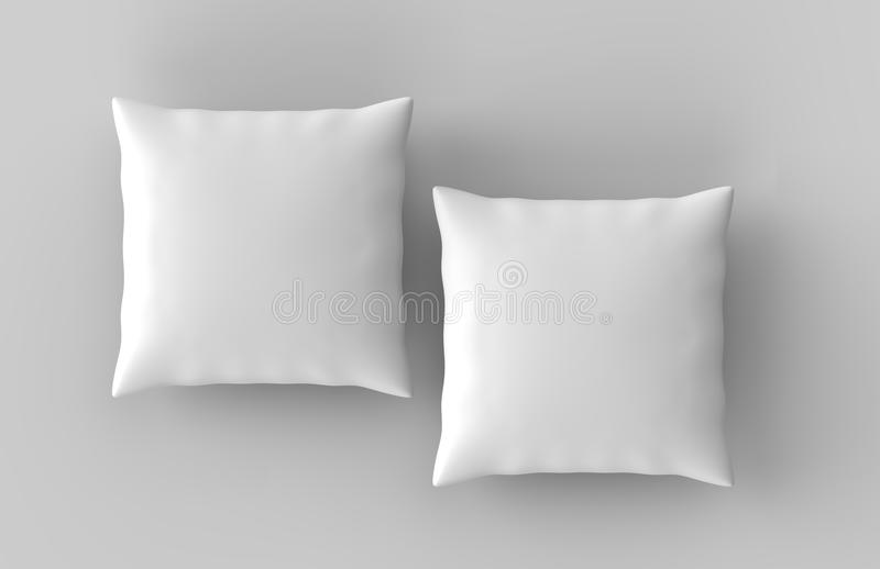 Κενό άσπρο μαξιλάρι μαξιλαριών έτοιμο για το σχέδιό σας η τρισδιάστατη απεικόνιση δίνει στοκ εικόνες με δικαίωμα ελεύθερης χρήσης