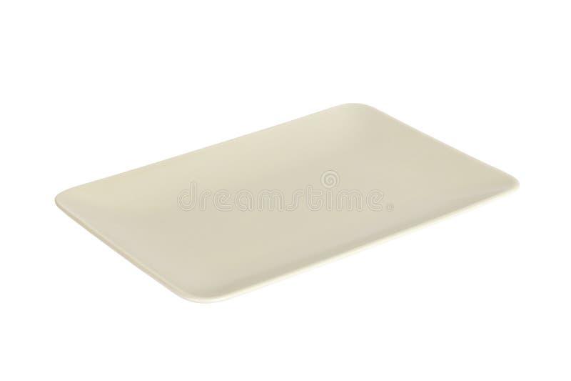 Κενό άσπρο ορθογώνιο πιάτο μεταλλινών που απομονώνεται στο άσπρο υπόβαθρο στοκ εικόνες με δικαίωμα ελεύθερης χρήσης