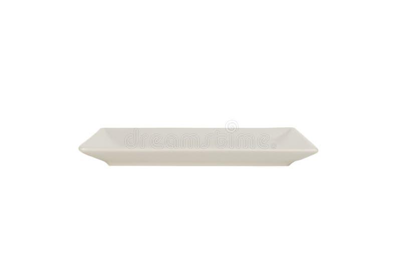 Κενό άσπρο ορθογώνιο πιάτο μεταλλινών που απομονώνεται στο άσπρο υπόβαθρο Μπροστινή όψη στοκ φωτογραφία με δικαίωμα ελεύθερης χρήσης