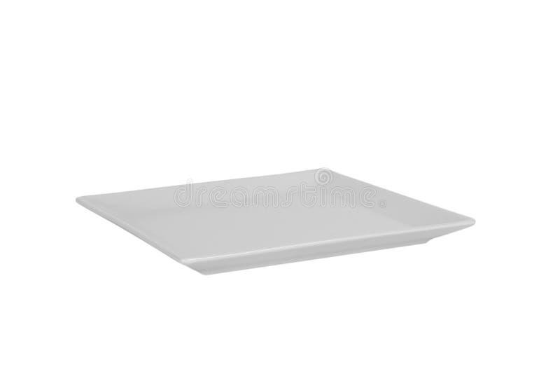 Κενό άσπρο ορθογώνιο πιάτο μεταλλινών που απομονώνεται στο άσπρο υπόβαθρο Όψη προοπτικής στοκ φωτογραφίες με δικαίωμα ελεύθερης χρήσης
