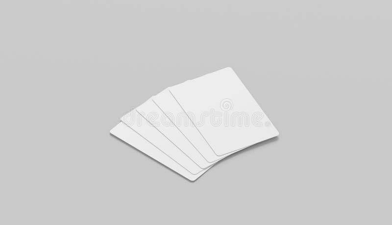 Κενό άσπρο πρότυπο προσώπου πέντε καρτών παιχνιδιού, απομονωμένη, πλάγια όψη στοκ εικόνα με δικαίωμα ελεύθερης χρήσης