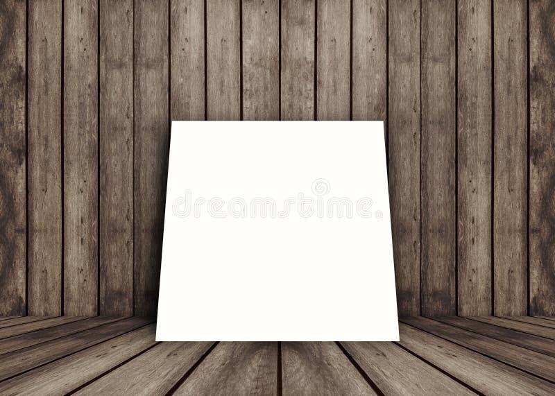 Κενό άσπρο πλαίσιο αφισών που τίθεται στο παλαιό ξύλινο εσωτερικό δωμάτιο σύστασης grunge για το παρόν προϊόν, το ξύλινους πάτωμα απεικόνιση αποθεμάτων