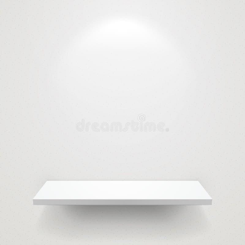 Κενό άσπρο ράφι για το έκθεμα με το μαλακό φως ελεύθερη απεικόνιση δικαιώματος