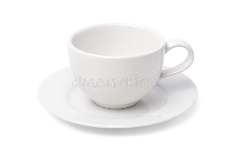 Κενό άσπρο φλυτζάνι καφέ που απομονώνεται στο άσπρο υπόβαθρο στοκ εικόνα