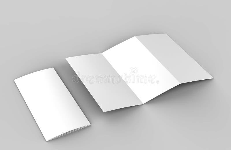 Κενό άσπρο φυλλάδιο πτυχών ζ για τη χλεύη επάνω στο σχέδιο προτύπων η τρισδιάστατη απεικόνιση δίνει διανυσματική απεικόνιση