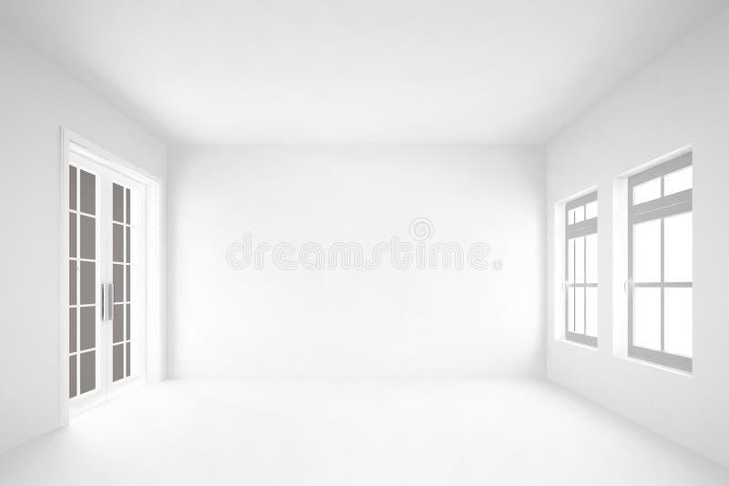κενό άσπρο δωμάτιο με το εσωτερικό υπόβαθρο door&windows στοκ εικόνες