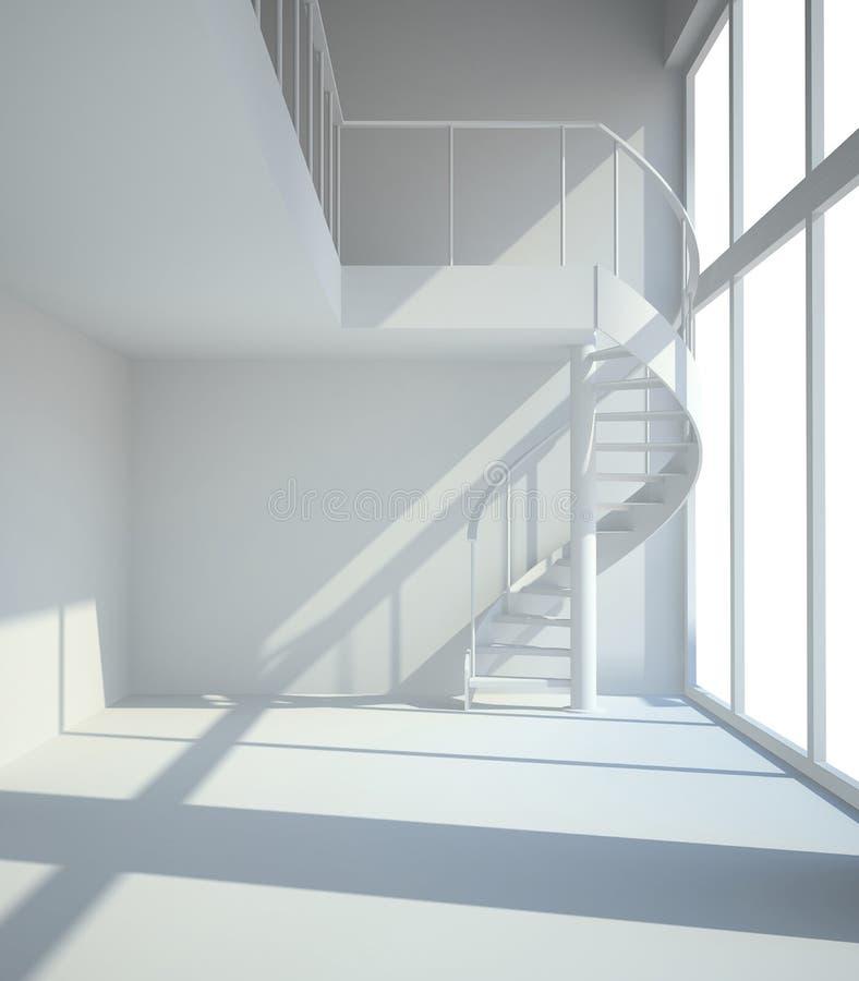 Κενό άσπρο δωμάτιο με το staircasel στην αναμονή το illustra μισθωτών ελεύθερη απεικόνιση δικαιώματος