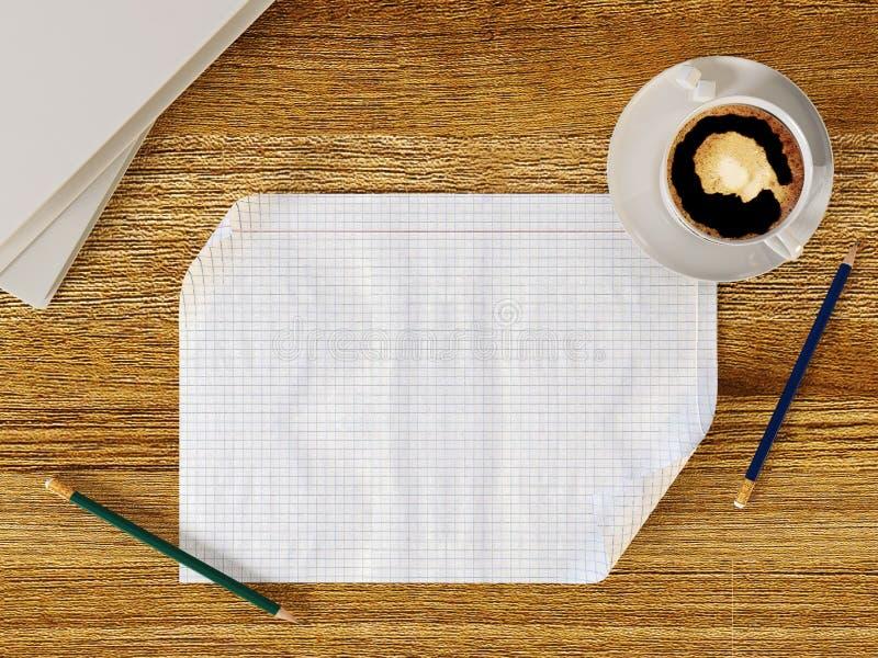 Κενό έγγραφο για τον ξύλινο πίνακα με τα μολύβια και το φλυτζάνι καφέ διανυσματική απεικόνιση