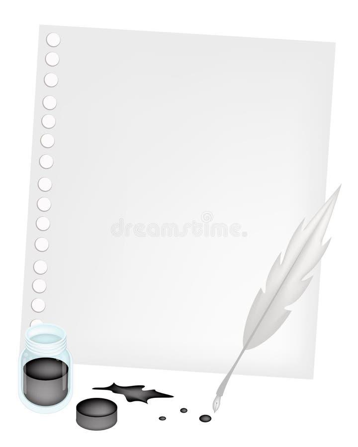 Κενό έγγραφο με ένα Inkwell και ένα φτερό ελεύθερη απεικόνιση δικαιώματος