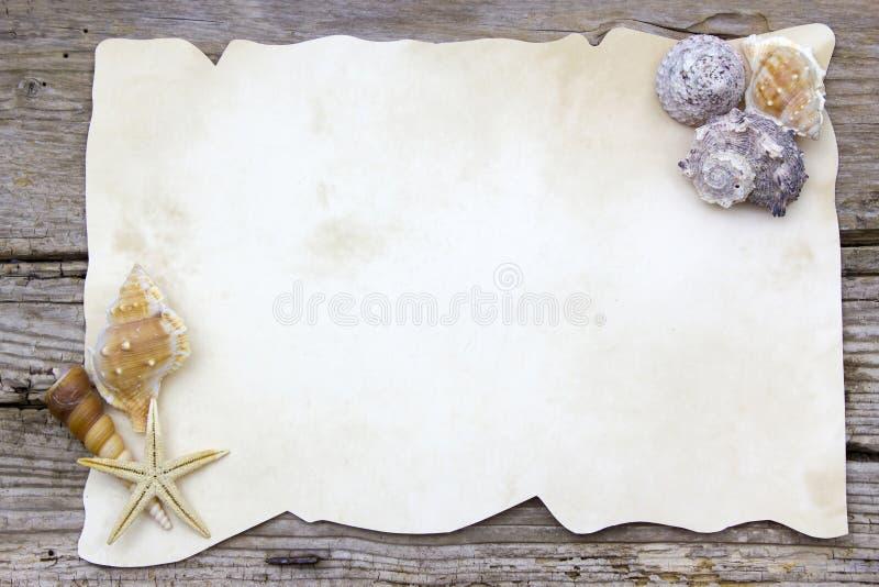 Κενό έγγραφο με τα θαλασσινά κοχύλια στοκ εικόνα με δικαίωμα ελεύθερης χρήσης