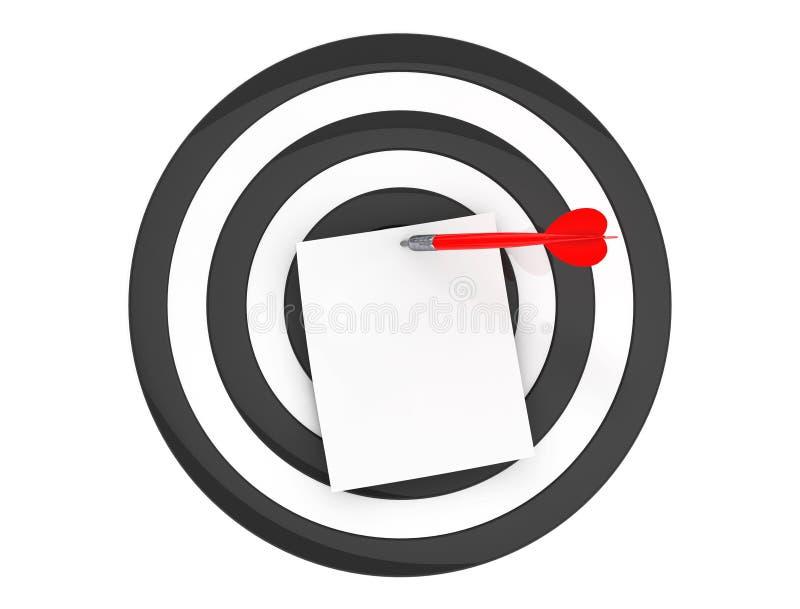 Κενό έγγραφο σημειώσεων στο κέντρο του στόχου βελών ελεύθερη απεικόνιση δικαιώματος