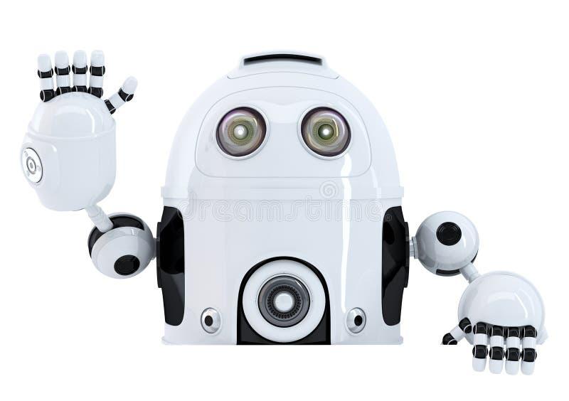 Κενό έμβλημα εκμετάλλευσης ρομπότ και κυματισμός γειά σου απομονωμένος Περιέχει το μονοπάτι ψαλιδίσματος διανυσματική απεικόνιση