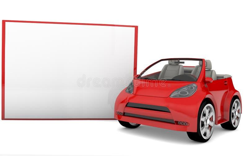 Κενό έμβλημα και κόκκινο αυτοκίνητο ελεύθερη απεικόνιση δικαιώματος