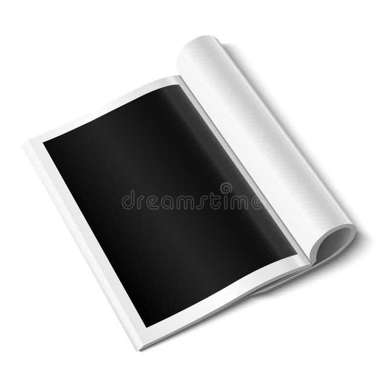 Κενό ανοικτό πρότυπο περιοδικών στο άσπρο υπόβαθρο με τις μαλακές σκιές απεικόνιση αποθεμάτων