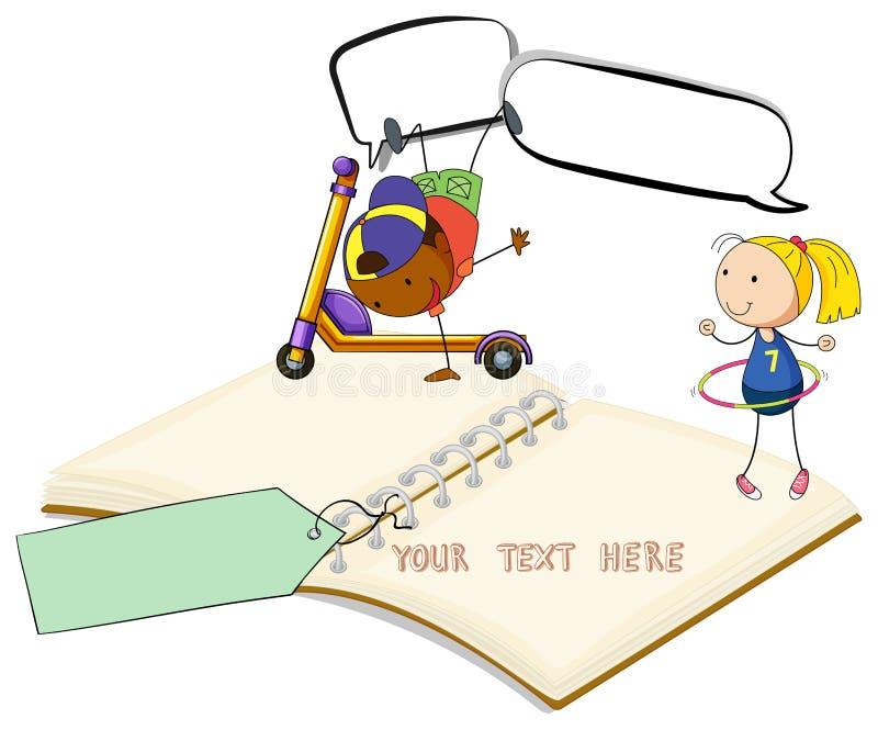 Κενό βιβλίο με το παιχνίδι δύο παιδιών διανυσματική απεικόνιση