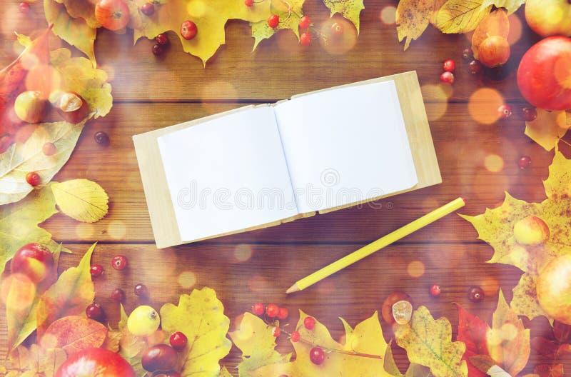Κενό βιβλίο σημειώσεων με τα φύλλα μολυβιών και φθινοπώρου στοκ φωτογραφία