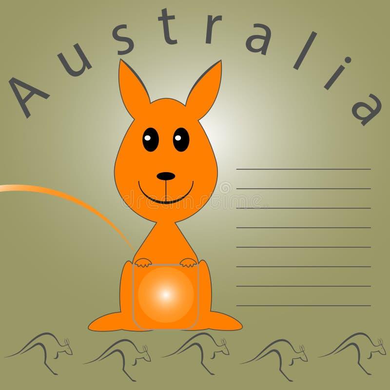 Κενό για τις σημειώσεις για την Αυστραλία με τα καγκουρό και το λόφο διανυσματική απεικόνιση