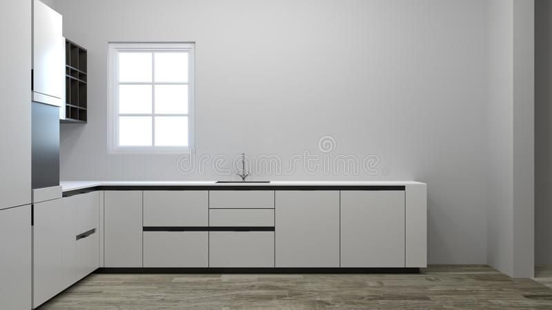 Κενό γραφείο κουζινών που περιμένει το τρισδιάστατο καινούργιο σπίτι απεικόνισης διακοσμήσεων που περιμένει τον ιδιοκτήτη, έπιπλα στοκ εικόνα
