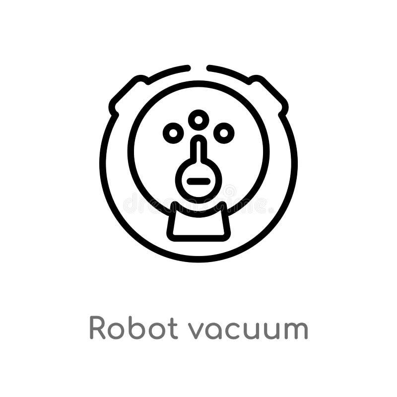κενό διανυσματικό εικονίδιο ρομπότ περιλήψεων απομονωμένη μαύρη απλή απεικόνιση στοιχείων γραμμών από την έννοια τεχνολογίας r ελεύθερη απεικόνιση δικαιώματος