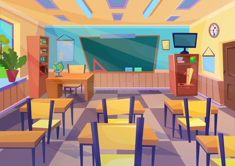 Κενό διανυσματικό επίπεδο εσωτερικό δωματίων σχολικής τάξης κινούμενων σχεδίων με το γραφείο πινάκων διανυσματική απεικόνιση