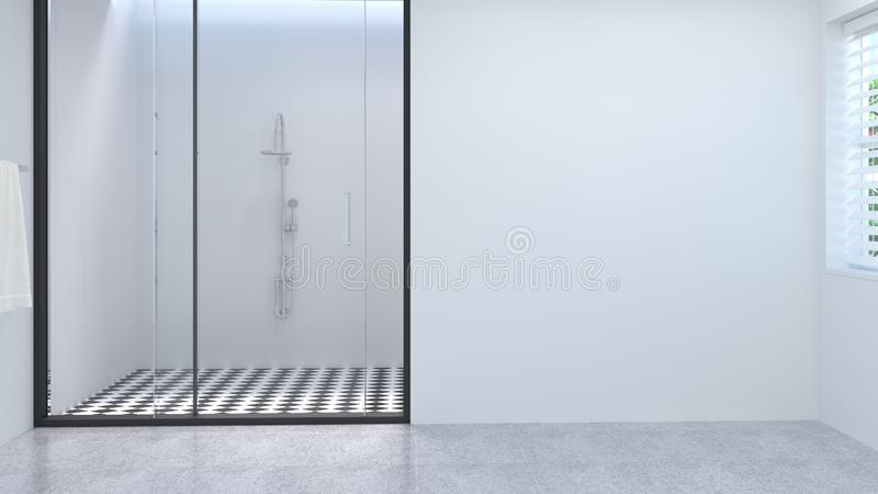 Κενό διαστημικό καθαρό άσπρο κενό εσωτερικό λουτρών, τουαλέτα, ντους, σύγχρονη εγχώριου σχεδίου τρισδιάστατη απόδοση λουτρών κερα ελεύθερη απεικόνιση δικαιώματος