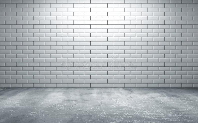 Κενό δωμάτιο με τα κεραμίδια στον τοίχο και το τσιμεντένιο πάτωμα ελεύθερη απεικόνιση δικαιώματος